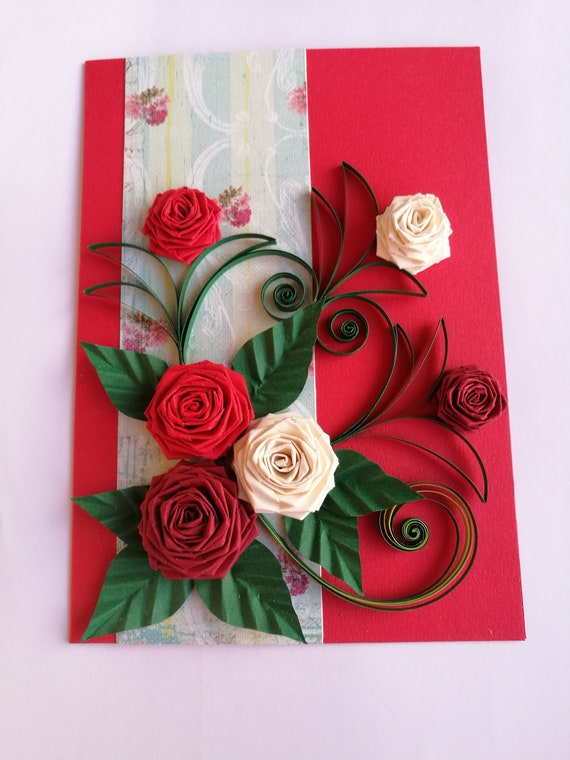 Quilled Valentine Card Valentine S Day Card Mother S Day Card Handmade Quilling Valentine Card Paper Card Paper Roses Love Card