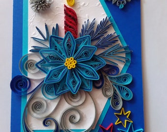 Quilling Christmas card, Quilled card Christmas, Merry Christmas, Greeting card Christmas, Christmas card, Handmade Christmas card