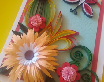 Handmade quilling card, Birthday Card, Mother's Card, Butterfly Card, Greeting Card for All Occasion Card