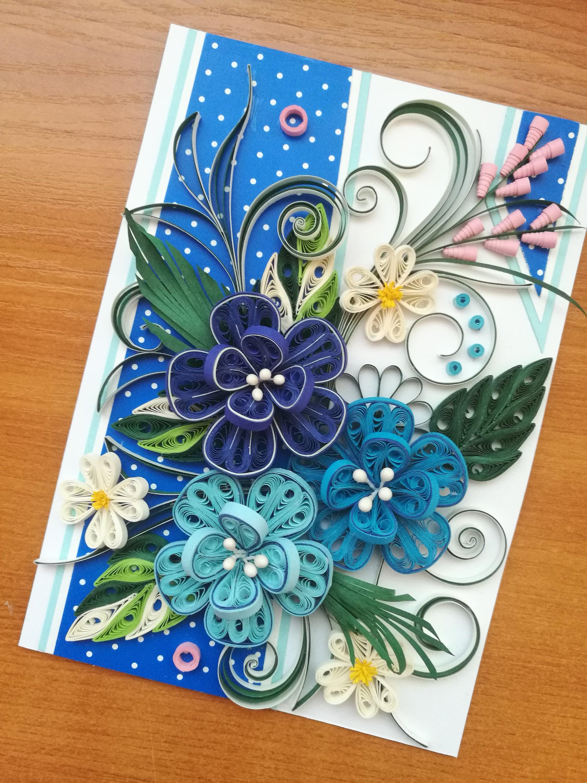 Квиллинг открытка с цветами для самой яркой 904109