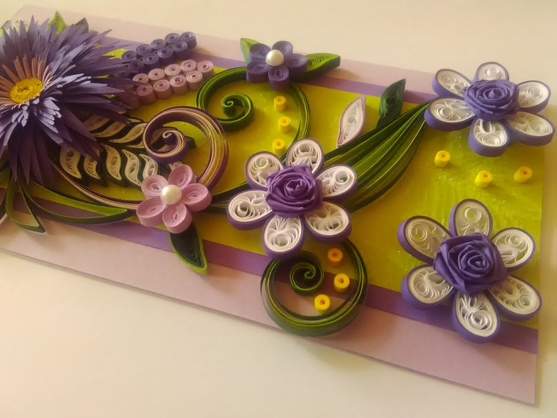 quilling card birthday quilled card greeting card purple