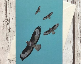 Buzzard greeting card – blank inside | Bird of prey card | Raptor greeting card