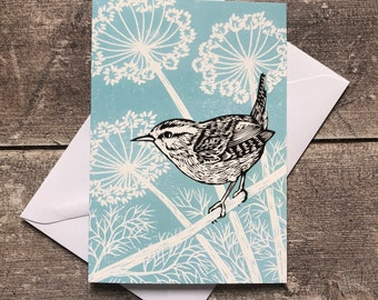 Wren bird greeting card – blank inside