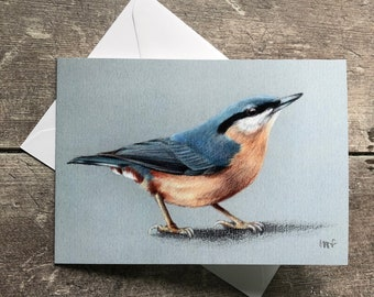 Nuthatch greeting card – blank inside   Garden bird greeting card