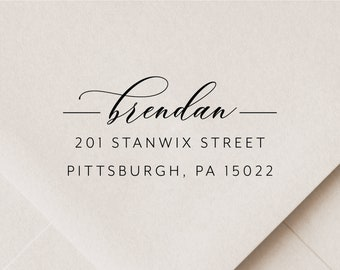 Modern Calligraphy Personalized Self Inking Return Address Stamp DRMS-TL2770 Perfect  Housewarming or Wedding Gift!