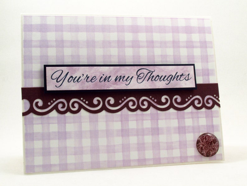 handmade card Thinking of you get well soon encouragement card purple card MADE TO ORDER you/'re in my thoughts sympathy card