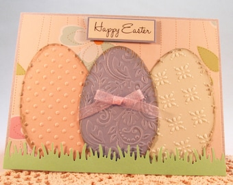 Easter Card, Happy Easter Card, handmade card, blue card, Easter greeting card, Easter eggs, pastel colors, Spring card, MADE TO ORDER