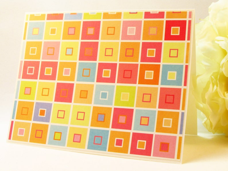 handmade cards square pattern MADE TO ORDER blank cards Blank note cards general use card set set of 4 cards note cards