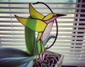 Stained Glass Hummingbird Garden Plant Stake