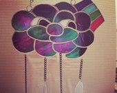 Stained Glass Rainbow Cloud with Chained Rain Droplets