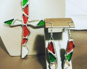 Glass Jewellery Set Complete with Glass Cross and Dangle Earrings
