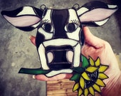 Stained Glass Cow Suncatcher with Sunflower
