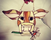 Stained Glass Brown Cow with Daisy