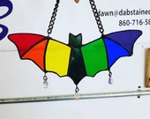 Stained Glass Rainbow Bat Suncatcher with Genuine Swarovski Crystal Dangles