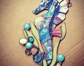 Stained Glass Sea Horse with Genuine Sea Shells and Glass Gem Accents