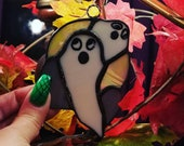 Two Ghosts in a Graveyard with Moon background Stained Glass Suncatcher