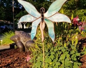 OOAK Stained Glass Fairy Garden Stake