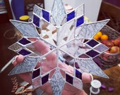 Large Stained Glass Snowflake Suncatcher/Window or Wall Hanging with Beveled Glass Center