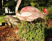 OOAK Stained Glass Pink Flamingo Garden Stake