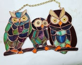 Stained Glass Owl Trio on a Branch