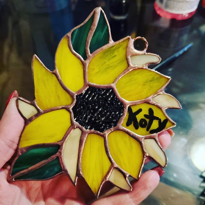 Stained Glass Sunflowers Suncatcher image 0