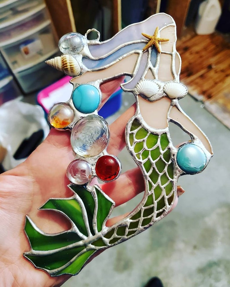 Stained Glass Mermaid with real Sea Shell and Glass Gem image 0