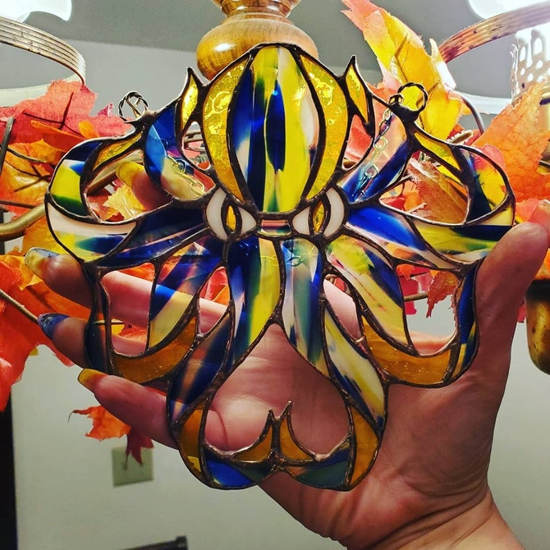Stained Glass Octopus Suncatcher image 0