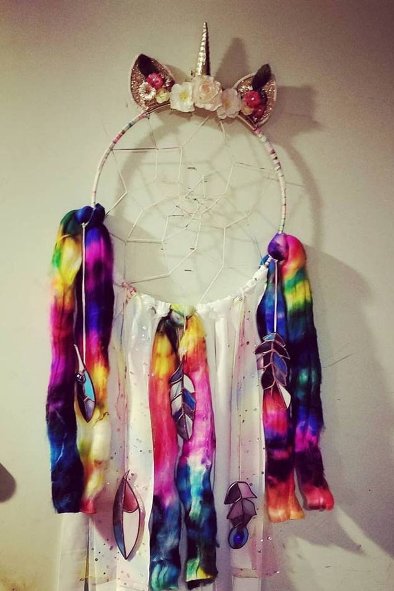 OOAK Hand Made Dreamcatcher Wall hanging with Stained Glass image 0