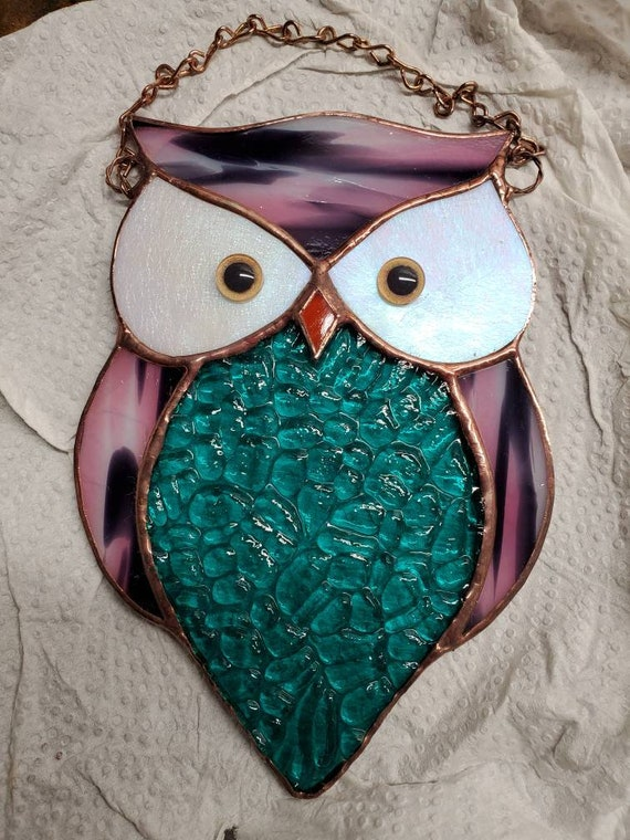 Pink Stained Glass Owl Suncatcher