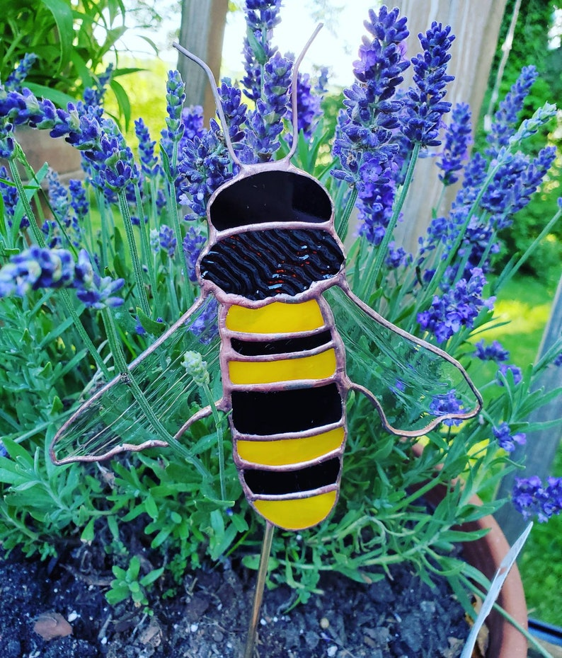 OOAK Stained Glass Bee Garden Stake image 0