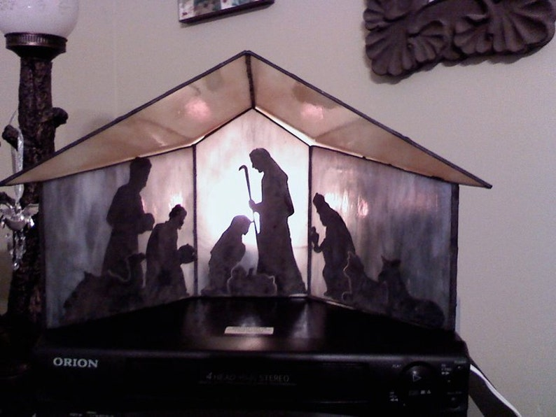 Stained Glass 3-D Manger with Copper Overlay Nativity Scene image 0