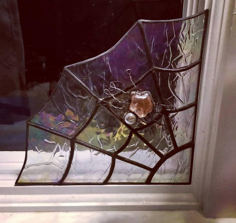 Corner Spiderweb with Glass Gem Spider with Wire legs image 0