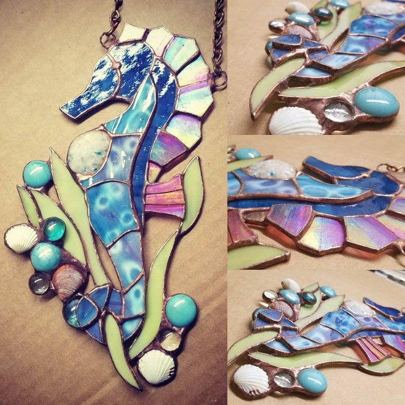Stained Glass Sea Horse with Genuine Sea Shells and Glass Gem image 0