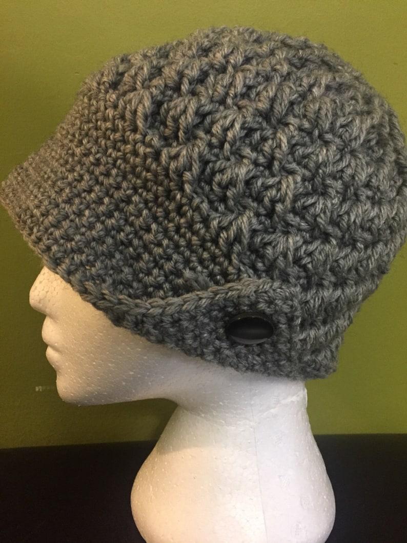 Crochet Hat Crochet Brimmed Hat With  Button Crochet Hat with Brim