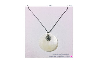 I Love You (ASL)  Natural Mother of Pearl Shell I Love You Necklace