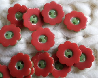Rare 2 hole Red & Green Flower Shaped Buttons 15mm