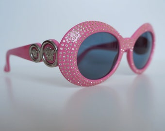3fb122bf5aa Versace sunglasses 418 F vintage crystals gift for her pink Gianni Versace  medusa sunglasses frame