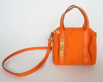 68a274daa0491 vintage Moschino bag redwall gold letters handbag orange messenger boston  nylon leather gold moschino letters cheap chic bag