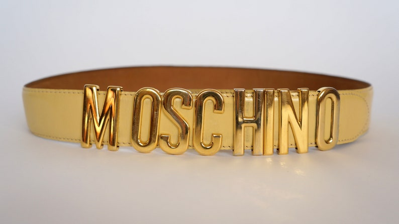c54ac0a1305 Vintage Moschino belt letters Redwall gift for her leather | Etsy