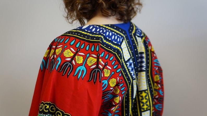 red blue oversize blazer red vintage shirt African cotton multicolor blouse,Dashiki print