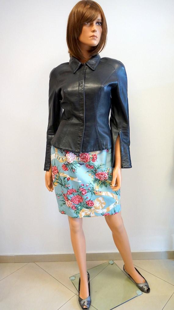 Thierry Mugler leather lamb jacket blazer ,Black … - image 1