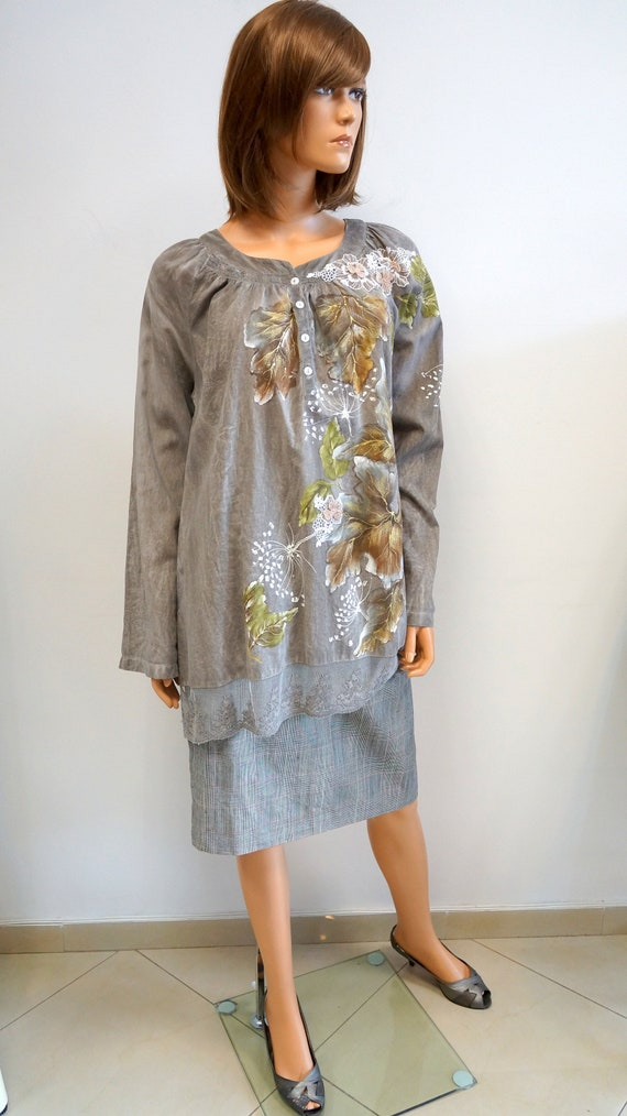 hand painted blouse, leaves autumn blouse, elegant
