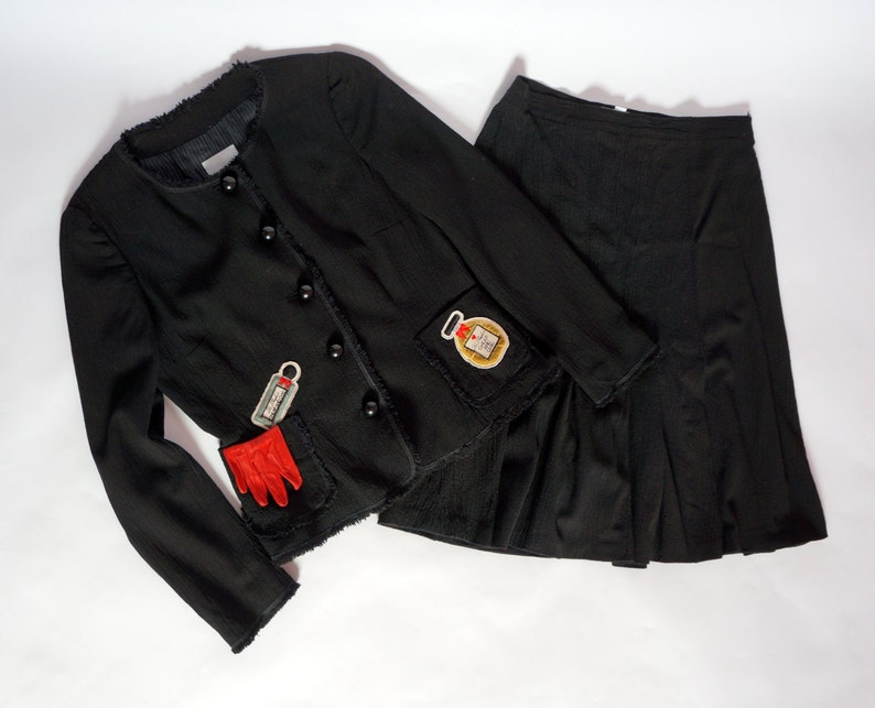 40d29f15a10 Vintage Moschino jacket skirt Cheap Chic suit wool suit