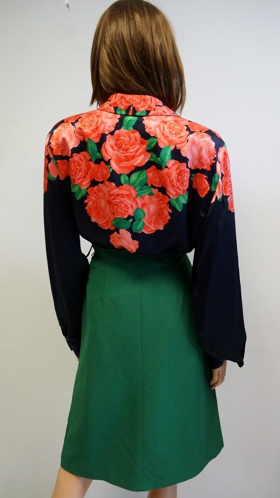 Escada silky shirt blouse, roses blouse, black red