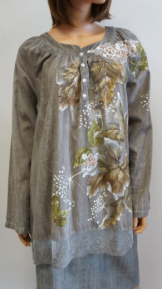 hand painted blouse, leaves autumn blouse, elegan… - image 7