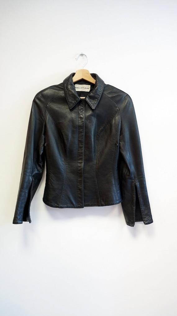 Thierry Mugler leather lamb jacket blazer ,Black … - image 4