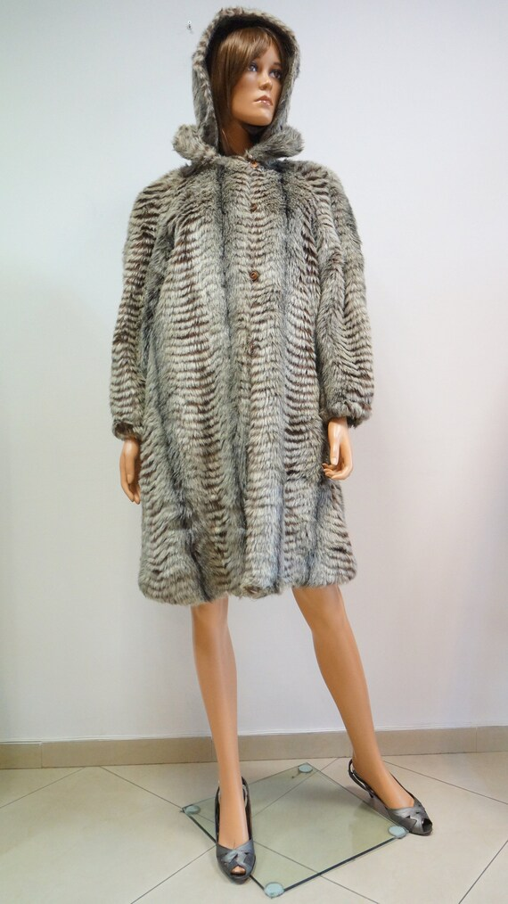 reversible coat, faux fur coat, military green ra… - image 8