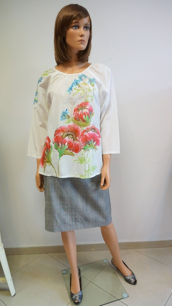 hand painted blouse, white poppies blouse, elegant