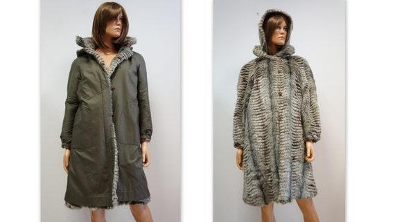 reversible coat, faux fur coat, military green ra… - image 1