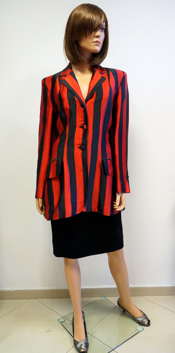 Moschino striped jacket, cheap chic black red larg